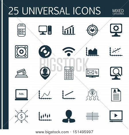 Set Of 25 Universal Icons On Investment, Stock Market, Collaborative Solution And More Topics. Vecto