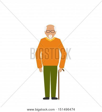 Illustration Old Disabled Man with Stick Crutch. Handicapped Male Isolated on White Background. Adult Human. Closeup of Aged Senior - Vector