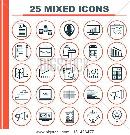Set Of 25 Universal Icons On Pin Employee, Bars Chart, Media Campaign And More Topics. Vector Icon S