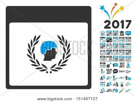 Soldier Laurel Wreath Calendar Page pictograph with bonus calendar and time management pictograph collection. Vector illustration style is flat iconic symbols, blue and gray colors, white background.