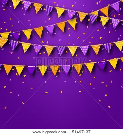 Illustration Halloween Party Background with Colored Bunting Pennants and Tinsel - Vector