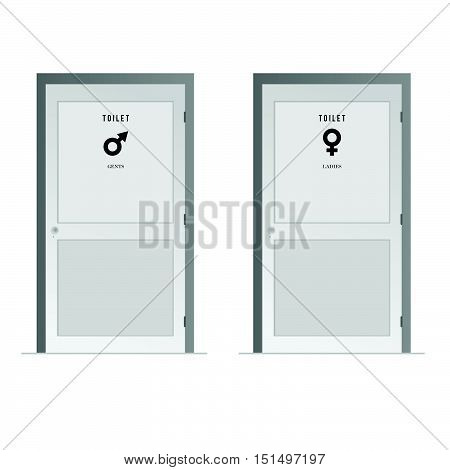 Toilet Doors For Male And Female Symbol Illustration