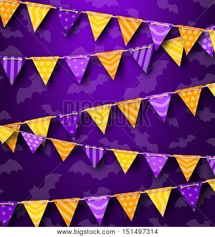 Illustration Colorful Hanging Bunting for Holiday Party, Cute Decoration - Vector