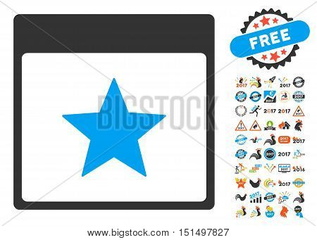 Star Calendar Page pictograph with bonus calendar and time management pictograph collection. Vector illustration style is flat iconic symbols, blue and gray colors, white background.