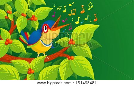 Lone bird singing on the branch of a tree on green background - Vector image