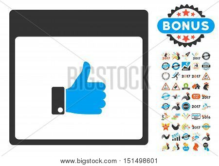Thumb Up Hand Calendar Page icon with bonus calendar and time management pictograph collection. Vector illustration style is flat iconic symbols, blue and gray colors, white background.