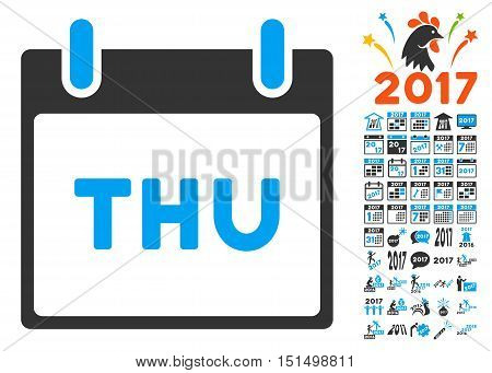 Thursday Calendar Page icon with bonus calendar and time management icon set. Vector illustration style is flat iconic symbols, blue and gray colors, white background.