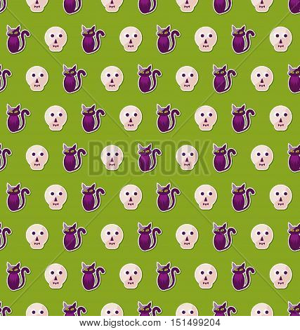 Illustration Seamless Texture with Colorful Cats and Skulls for Halloween. Abstract Holiday Background - Vector