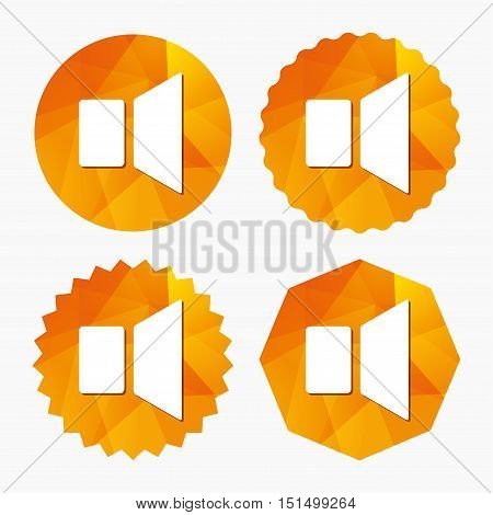 Speaker volume sign icon. Sound symbol. Triangular low poly buttons with flat icon. Vector