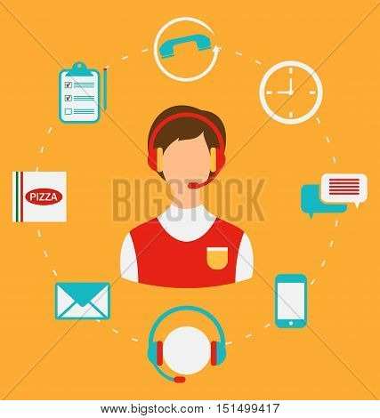 Illustration Order Pizza On-line, Call Center, Home delivery. Flat Style Icons - Vector