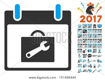Toolbox Calendar Day icon with bonus calendar and time management pictogram set. Vector illustration style is flat iconic symbols, blue and gray colors, white background.