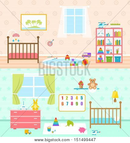 Illustration Set Playrooms for Kids. Baby Rooms Interior. Cradle, Window, Carpet, Bookcase, Toys, Stuffed Toys, Bookshelf, Alphabet. Flat Minimal Style. Set Colorful Furniture - Vector