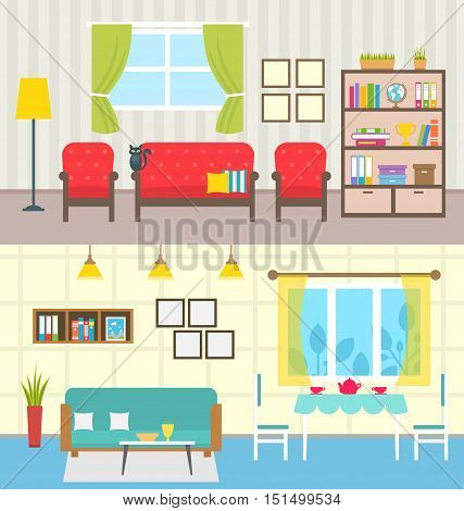 Illustration Set Home Interiors. Design of Living Rooms. Collection Colorful Furniture in Flat Style - Vector