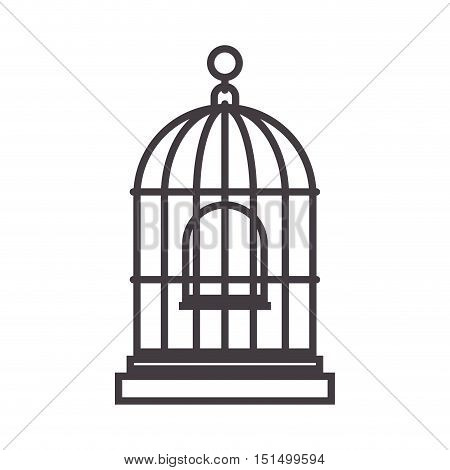 silhouette for bird cage with swing vector illustration