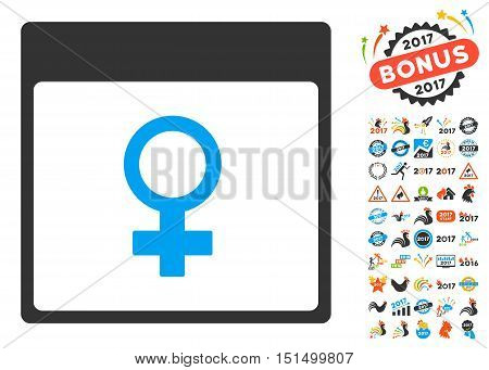 Venus Female Symbol Calendar Page icon with bonus calendar and time management pictogram set. Vector illustration style is flat iconic symbols, blue and gray colors, white background.