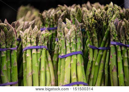 a Bundles of fresh green asparagus vegetable.