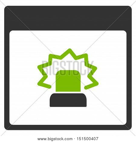 Alert Calendar Page vector icon. Style is flat graphic bicolor symbol, eco green and gray colors, white background.