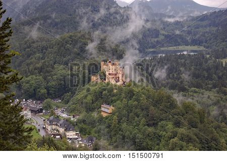 Schloss Hohenschwangau, the yellow gothic castle across from Neuschwanstein in which King Ludwig II lived
