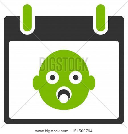 Baby Head Calendar Day vector pictograph. Style is flat graphic bicolor symbol, eco green and gray colors, white background.