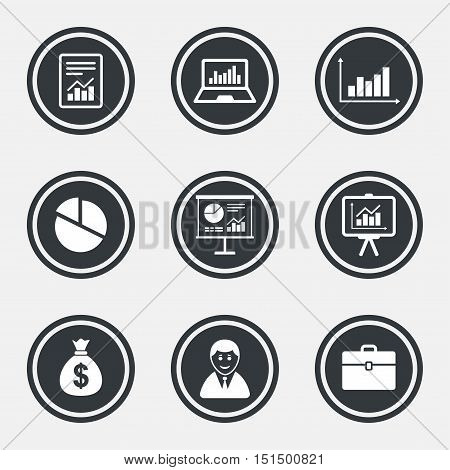 Statistics, accounting icons. Charts, presentation and pie chart signs. Analysis, report and business case symbols. Circle flat buttons with icons and border. Vector
