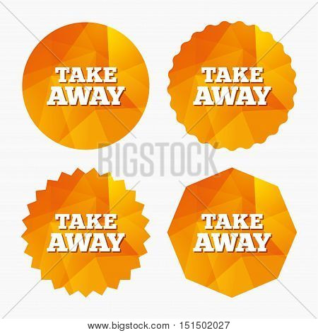 Take away sign icon. Takeaway food or coffee drink symbol. Triangular low poly buttons with flat icon. Vector