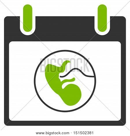 Embryo Calendar Day vector icon. Style is flat graphic bicolor symbol, eco green and gray colors, white background.