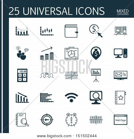 Set Of 25 Universal Icons On Sinus Graph, Time Management, Website And More Topics. Vector Icon Set Including Coins Growth, Bars Chart, Fail Graph And Other Icons.
