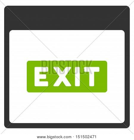 Exit Caption Calendar Page vector icon. Style is flat graphic bicolor symbol, eco green and gray colors, white background.