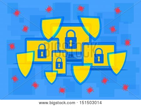 Firewall protection vector illustration. Creative concept with lock sign and shields that protect computer. Protection software to secure data from viruses spyware hackers graphic design.