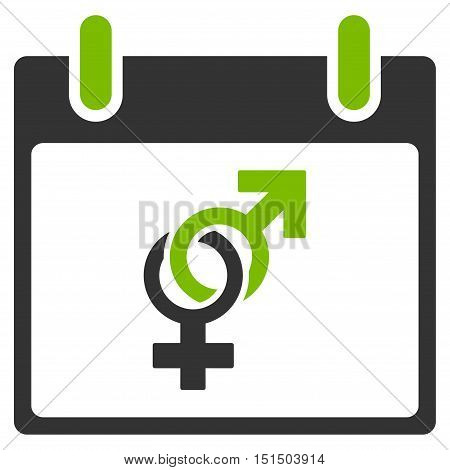 Marriage Calendar Day vector pictogram. Style is flat graphic bicolor symbol, eco green and gray colors, white background.