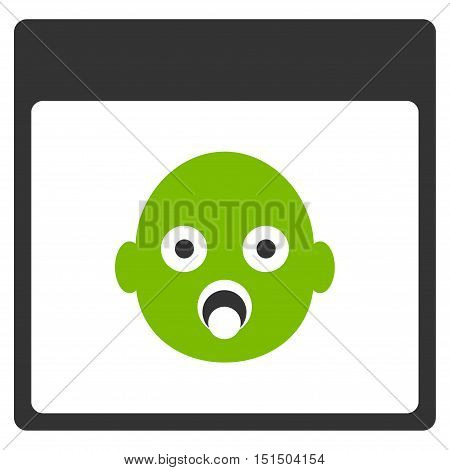 Newborn Head Calendar Page vector icon. Style is flat graphic bicolor symbol, eco green and gray colors, white background.