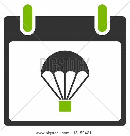 Parachute Calendar Day vector pictogram. Style is flat graphic bicolor symbol, eco green and gray colors, white background.