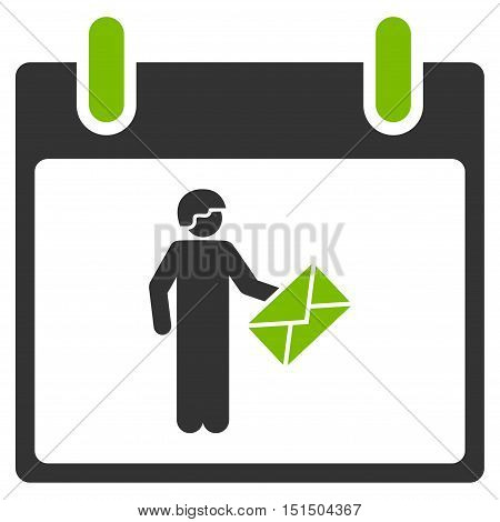 Postman Calendar Day vector pictogram. Style is flat graphic bicolor symbol, eco green and gray colors, white background.