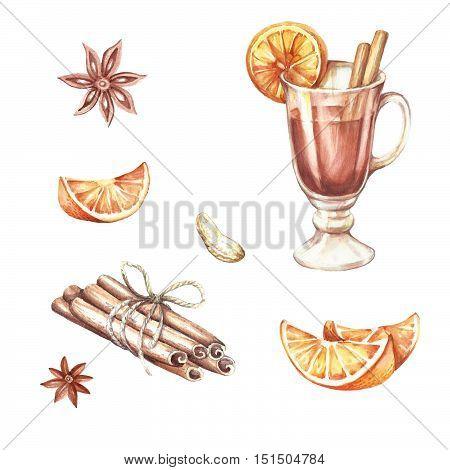 Mulled wine, oranges, cinnamon.Hand draw watercolor illustration.
