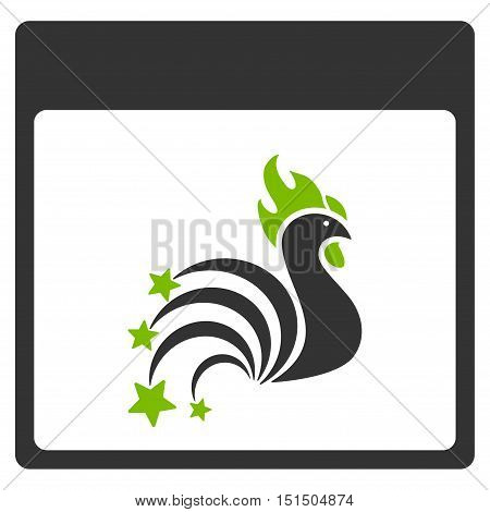 Rooster Fireworks Calendar Page vector icon. Style is flat graphic bicolor symbol, eco green and gray colors, white background.