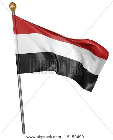 National flag for country of Yemen isolated on white background, 3D rendering