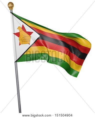 National flag for country of Zimbabwe isolated on white background, 3D rendering