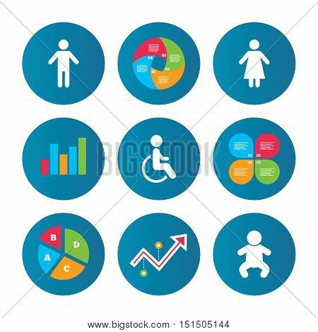 Business pie chart. Growth curve. Presentation buttons. WC toilet icons. Human male or female signs. Baby infant or toddler. Disabled handicapped invalid symbol. Data analysis. Vector