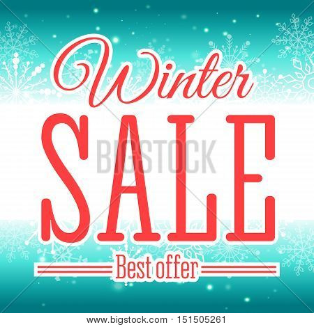 Vector illustration of Winter sale poster. Badge.