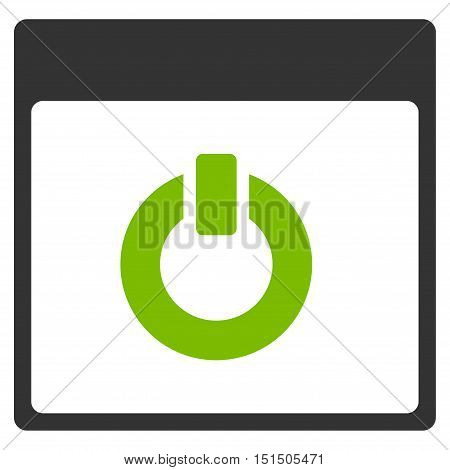 Switch on Calendar Page vector icon. Style is flat graphic bicolor symbol, eco green and gray colors, white background.