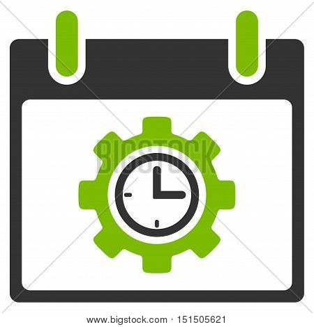 Time Gear Calendar Day vector icon. Style is flat graphic bicolor symbol, eco green and gray colors, white background.