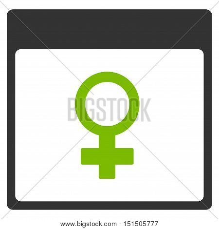 Venus Female Symbol Calendar Page vector icon. Style is flat graphic bicolor symbol, eco green and gray colors, white background.