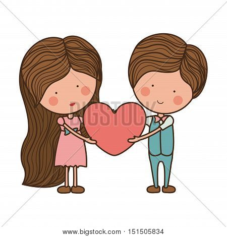 couple holding heart with striped hair vector illustration