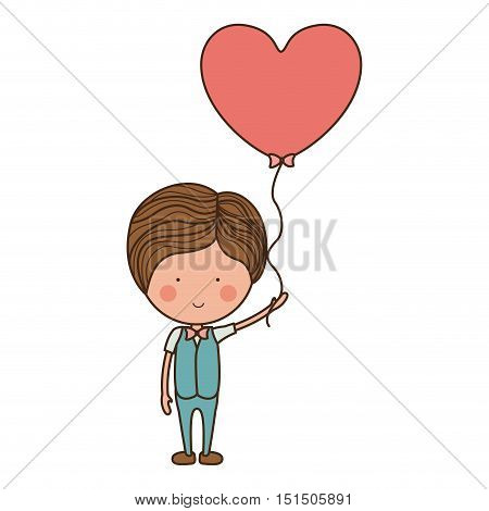 man holding heart shaped balloon vector illustration