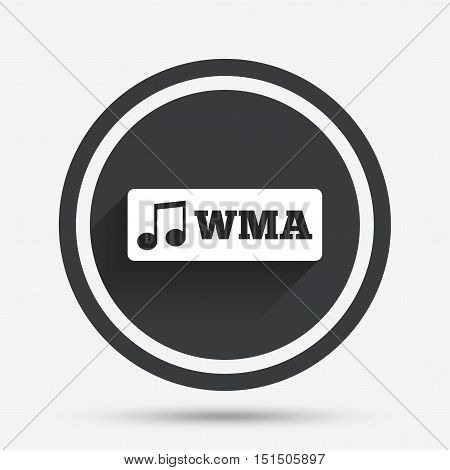 Wma music format sign icon. Musical symbol. Circle flat button with shadow and border. Vector