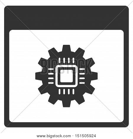 Chip Gear Calendar Page vector pictogram. Style is flat graphic symbol, gray color, white background.