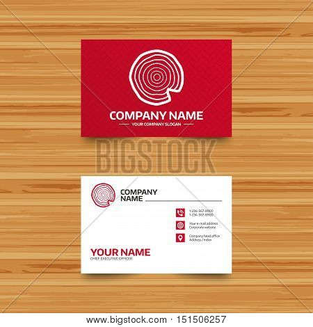 Business card template. Wood sign icon. Tree growth rings. Tree trunk cross-section with nick. Phone, globe and pointer icons. Visiting card design. Vector