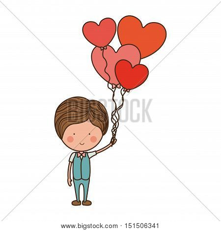 man with heart shaped balloons vector illustration