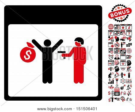 Arrest Calendar Page pictograph with bonus calendar and time management pictograph collection. Vector illustration style is flat iconic symbols, intensive red and black, white background.