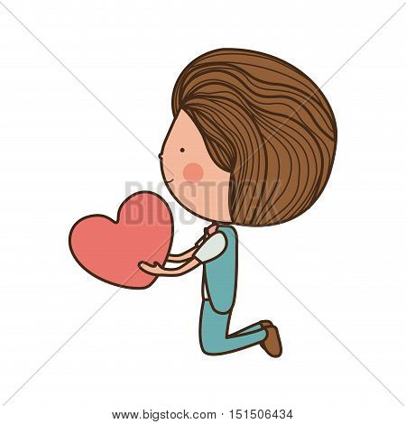 boy kneeling and giving heart vector illustration
